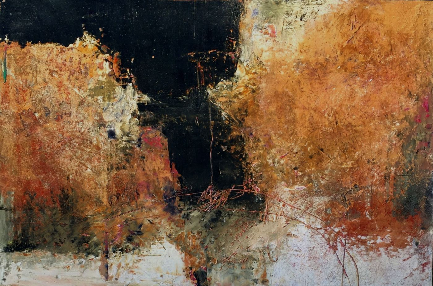 Rebecca Crowell Canyon #1 Oil And Cold Wax Panel 12