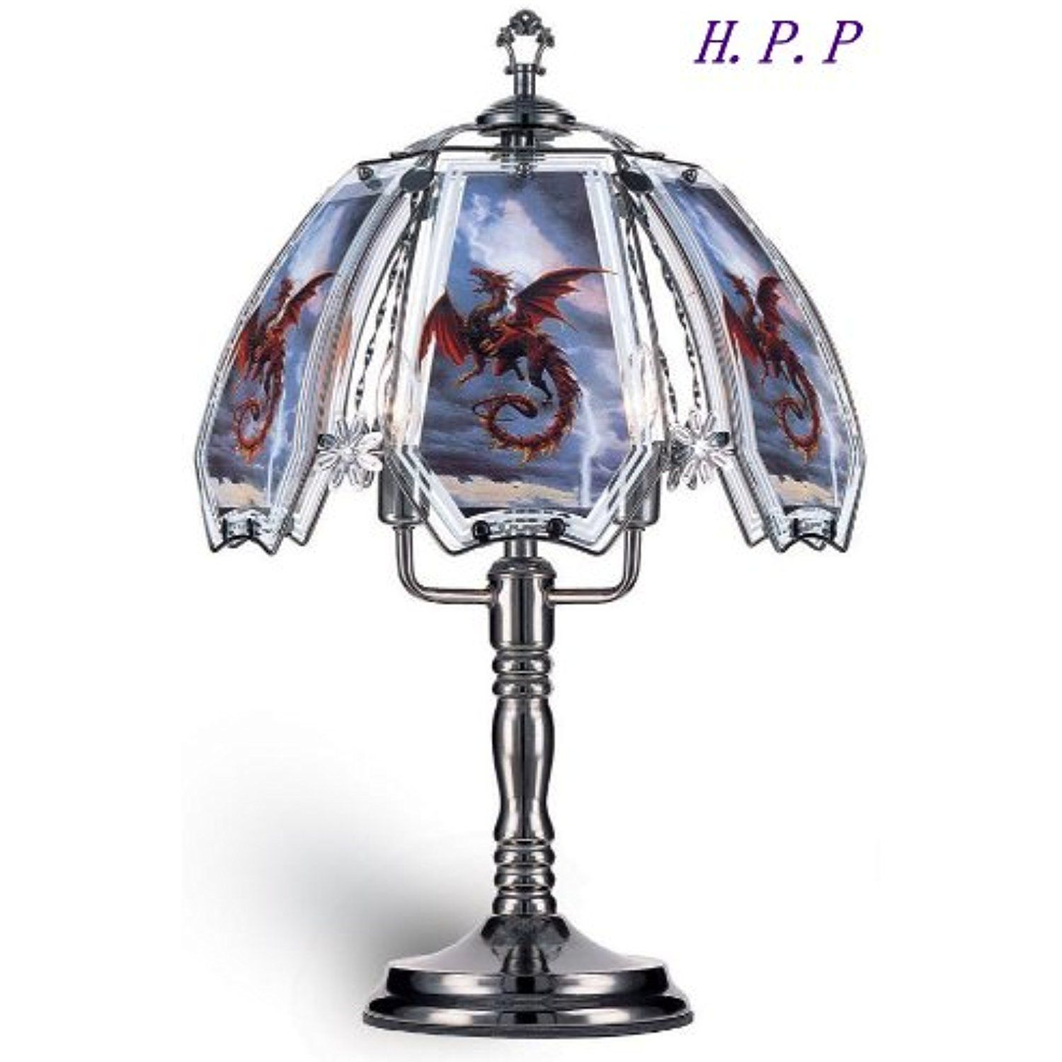 Hpp 235h new glass red dragon table lamp w dark chrome finish hpp 235h new glass red dragon table lamp w dark chrome finish aloadofball Choice Image