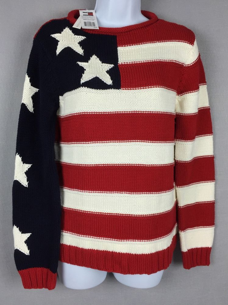 a1cf107c76 NWT Tommy Hilfiger  USA  Flag Sweater Womens M  Patriotic Red White Blue  Hand Knit  TommyHilfiger  RolledCollar