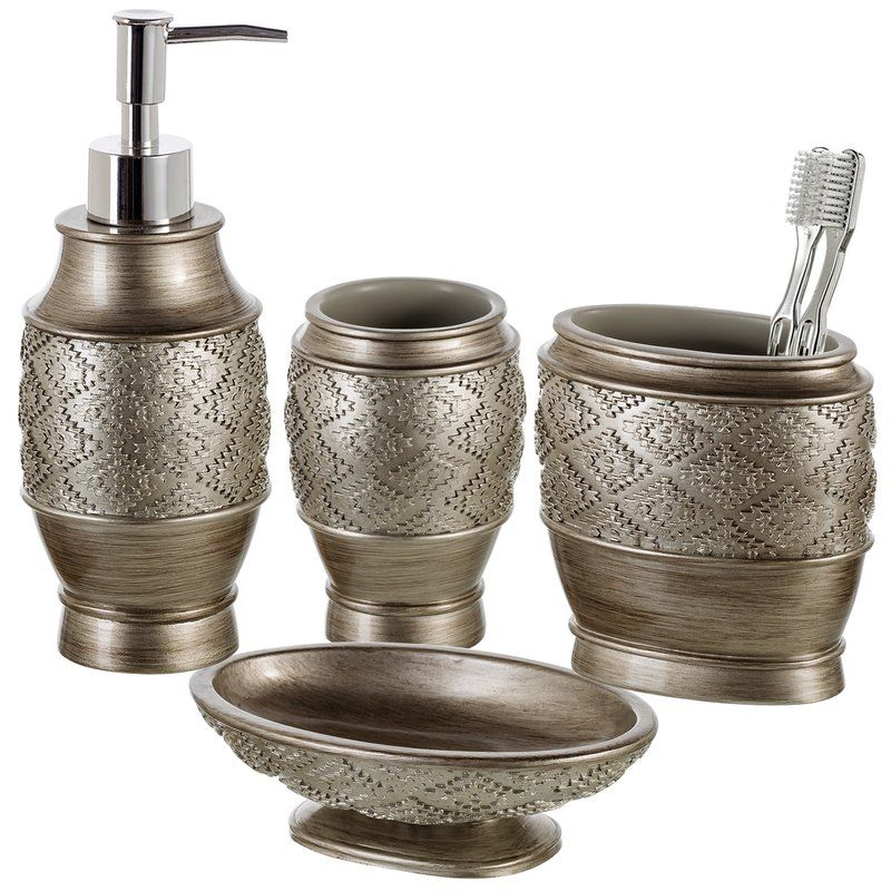 Dublin Silver 4 Piece Bathroom Accessory Set (With images ...