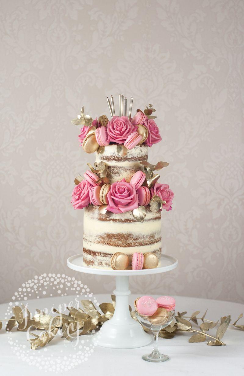 Pink And Gold Macaron Studded Naked Birthday Cake Wedding Ideas
