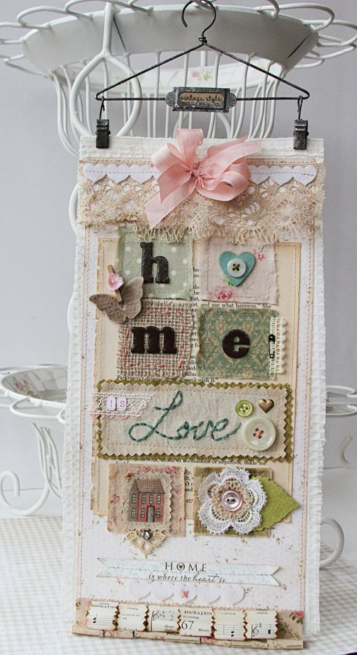 Shabby Chic wall hanging-love this and wish that my super crafty friend named Carole would make me one! Yes, I wrote that! JC :)