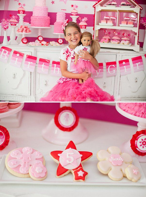 American Girl Doll Inspired Party with tissue flowers, dollhouse dessert display, star lollipops, ruffled cupcakes, ruffle cake, macarons, ruffled streamers