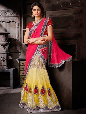 Pink and Yellow Net Saree with Resham Embroidery Work