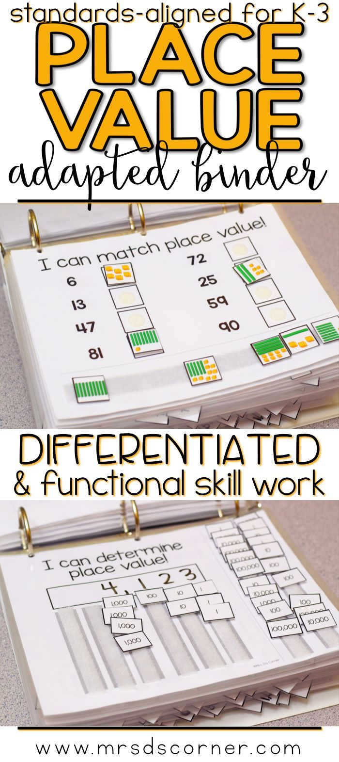 PLACE VALUE * Functional and differentiated skill work that covers place value mathematics standards-aligned topics for grades K-3, this Place Value adapted work binder is the perfect addition to any elementary special education classroom. Includes 1:1 correspondence, Describing objects in sets, Mathematical language, Compare and order numbers, Create sets of numbers, Create models to make numbers, Standard and Expanded form, Using a number line. Adapted Work Binders only at Mrs. D's Corn