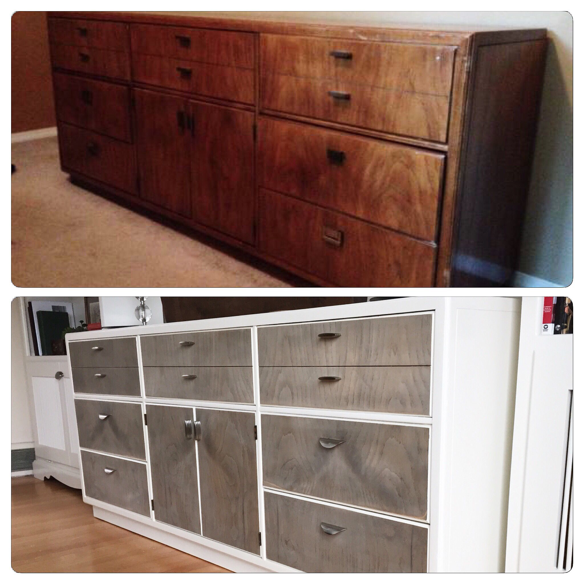 """Refinished credenza Body painted with Sherwin Williams """"Creamy"""