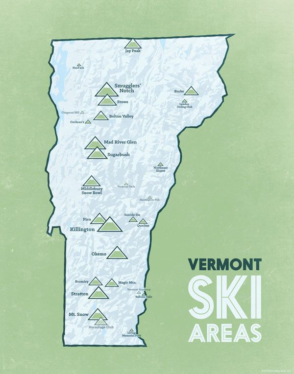 Skiing Virginia Map.Vermont Ski Resorts Map 11x14 Print Ski Areas Vermont Ski