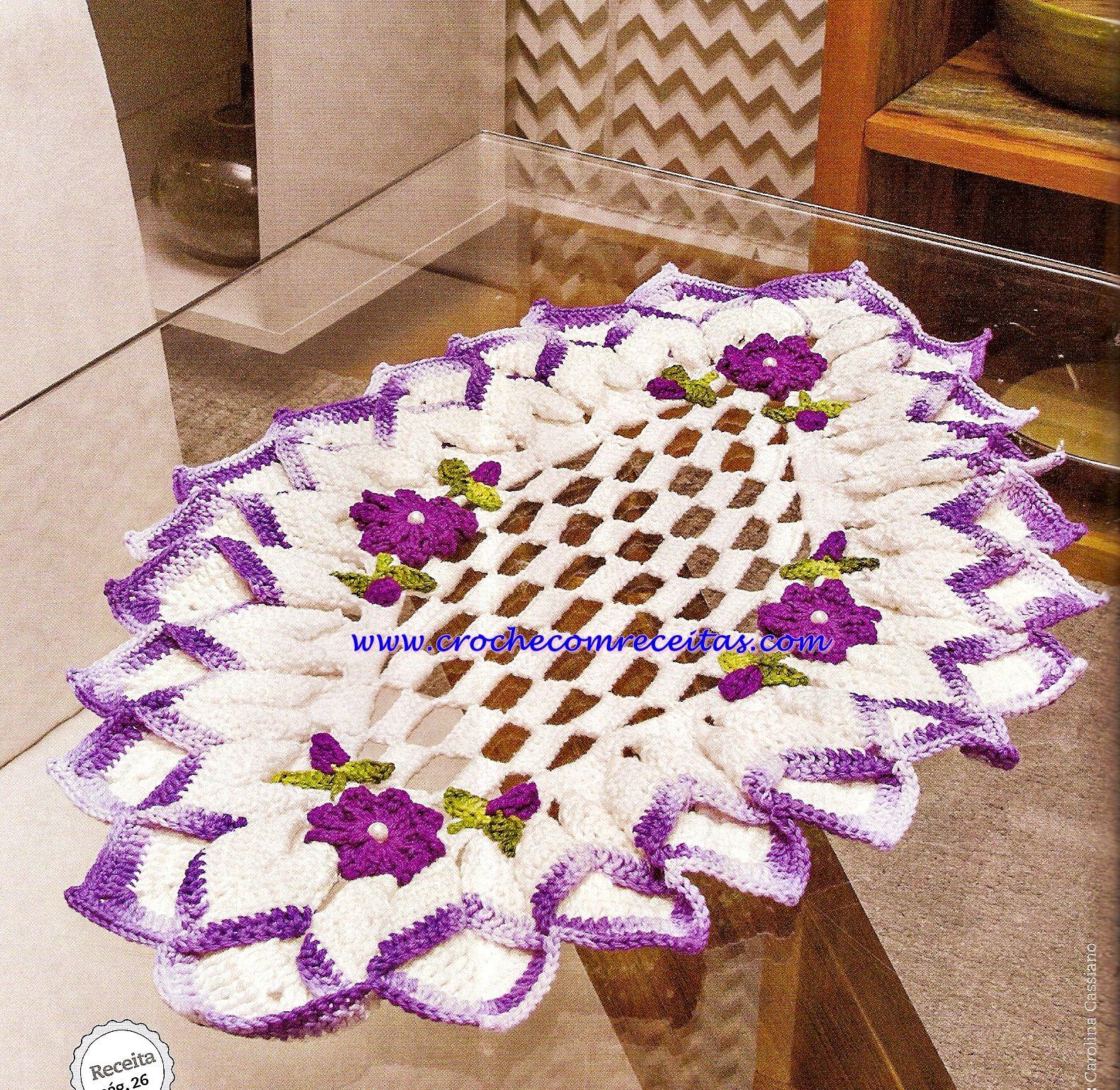 Centro de mesa em croche com flores toalhinhas for Tapete mesa