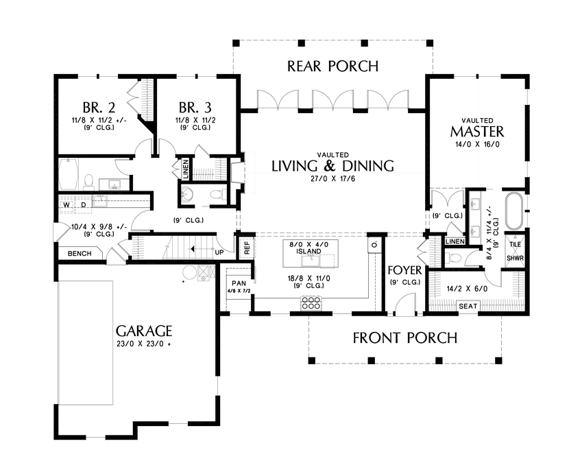 Main Floor Plan Image For Mascord Cary Charming Home Designed With Your Family In Mind Main Floor Farmhouse Style House Plans House Plans Farmhouse Style House
