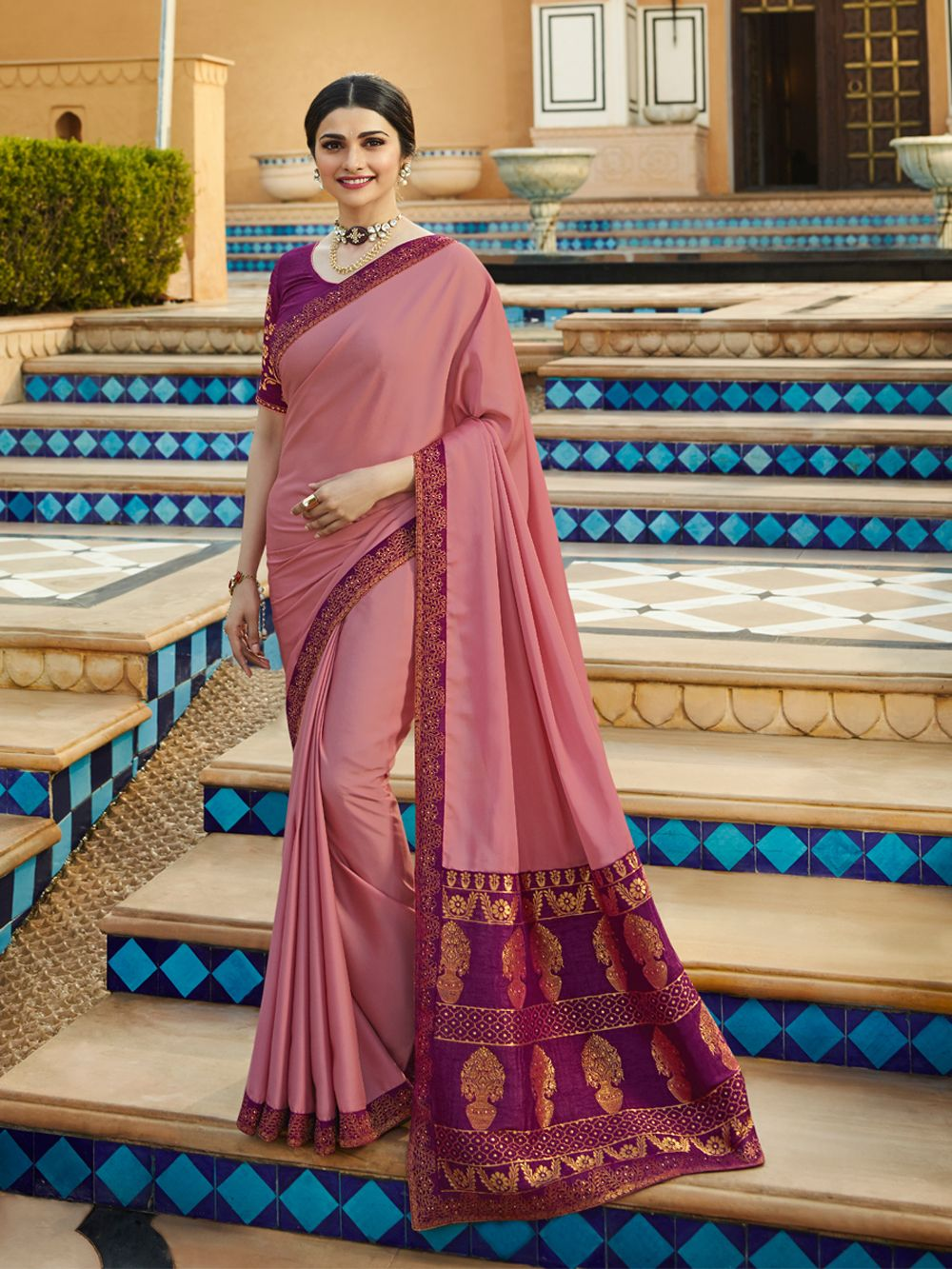 72f6154619 Check out the Light Pink White Rangoli Traditional Saree at #NihalFashions.