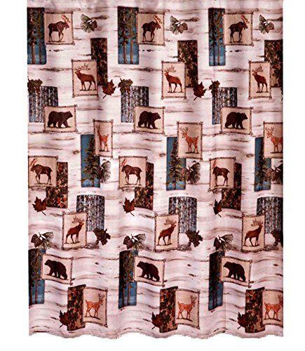 Timber Ridge Fabric Shower Curtain Wilderness Wildlife Design