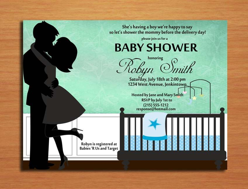 Kissing Couple Baby Boy Baby Shower Invitation Cards PRINTABLE