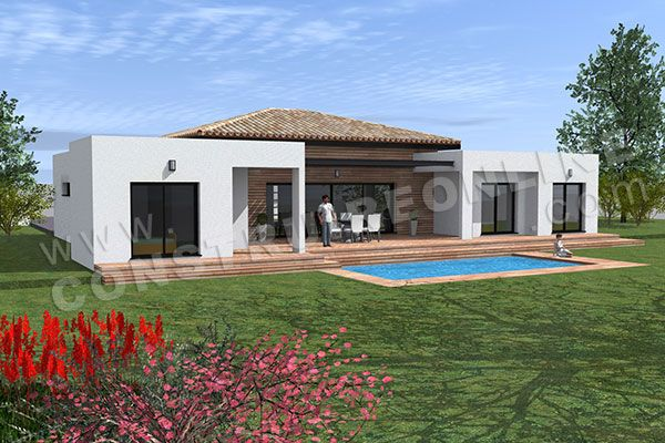 plan de maison moderne plain pied TEMPLATE (6) maison Pinterest - facade de maison moderne