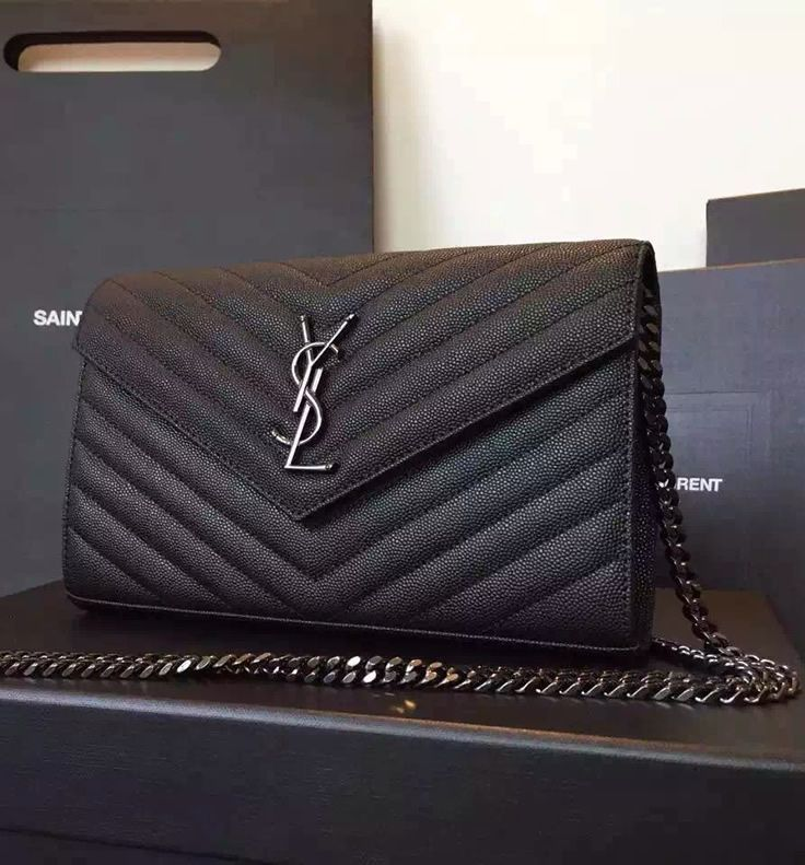Monogram Saint Laurent Chain Wallet in Black Grain de Poudre Textured  Matelasse Leather with Gun- 6eb98f941735e