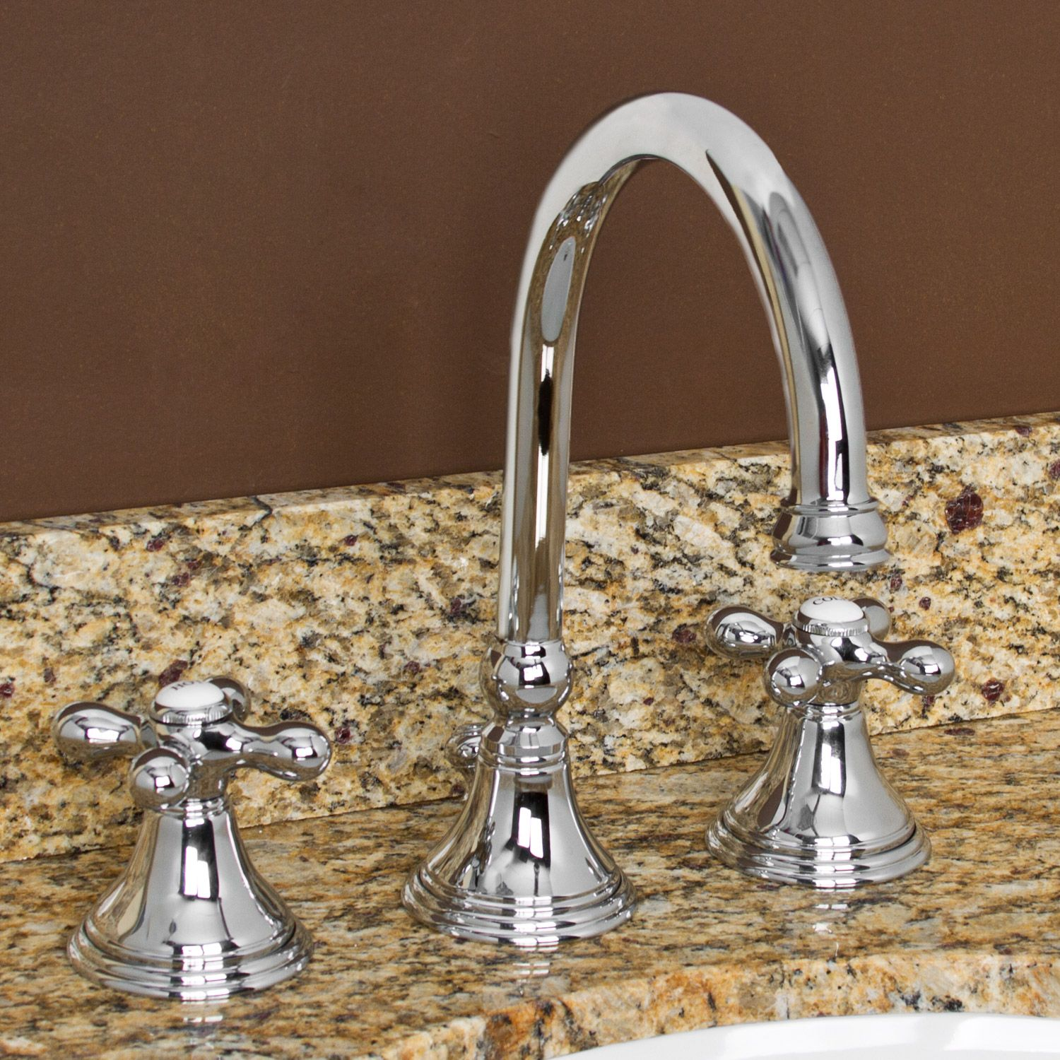 Melanie Widespread Gooseneck Bathroom Faucet   Cross Handles