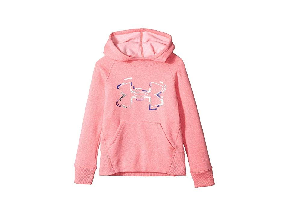 Under Armour Kids Threadborne Hoodie (Big Kids) (Penta Pink Light Heather/Black) Girl's Sweatshirt. Let her run free on the playground without feeling restricted in the breathable Under Armour Kids Threadborne Hoodie. All Under Armour Apparel features a tagless design or tear-away tag with no left-over pieces. Loose fit drapes the body with full range of motion. UA Threadborne fabric designed with natural stretch and breathabl #UnderArmourKids #Apparel #Top #Sweatshirt #Pink