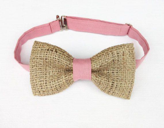 Burlap bow tie pink. Pink burlap bow tie wedding by KristineBridal #rustic #bow #tie #burlap #wedding #groomsmen #gift #groom #dusty #pink #pre #tied