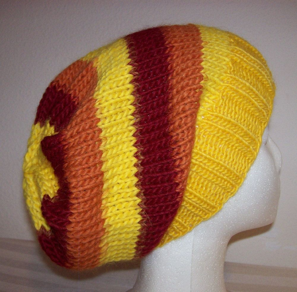 Wool/Alpaca Hipster Beanie - Slouchy Knit Hat - Knitted ...