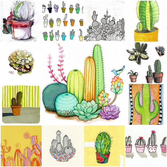 Cactus Art Mosaic Dessin Fleur Illustration Et Plantes De Cactus