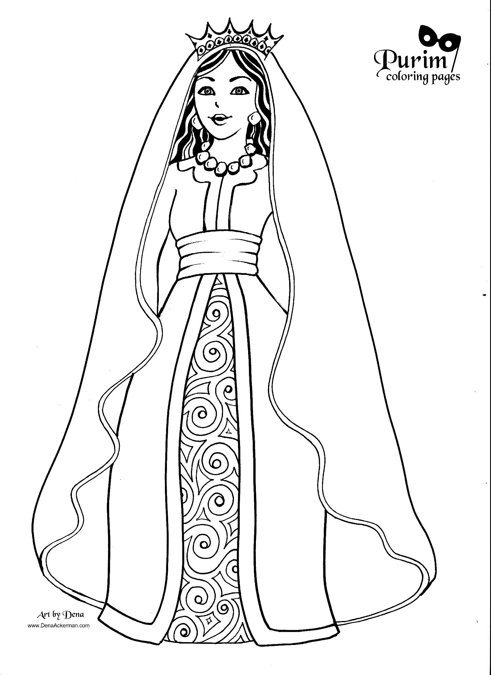 Purim Coloring Pages Esther Bible Purim Bible Coloring