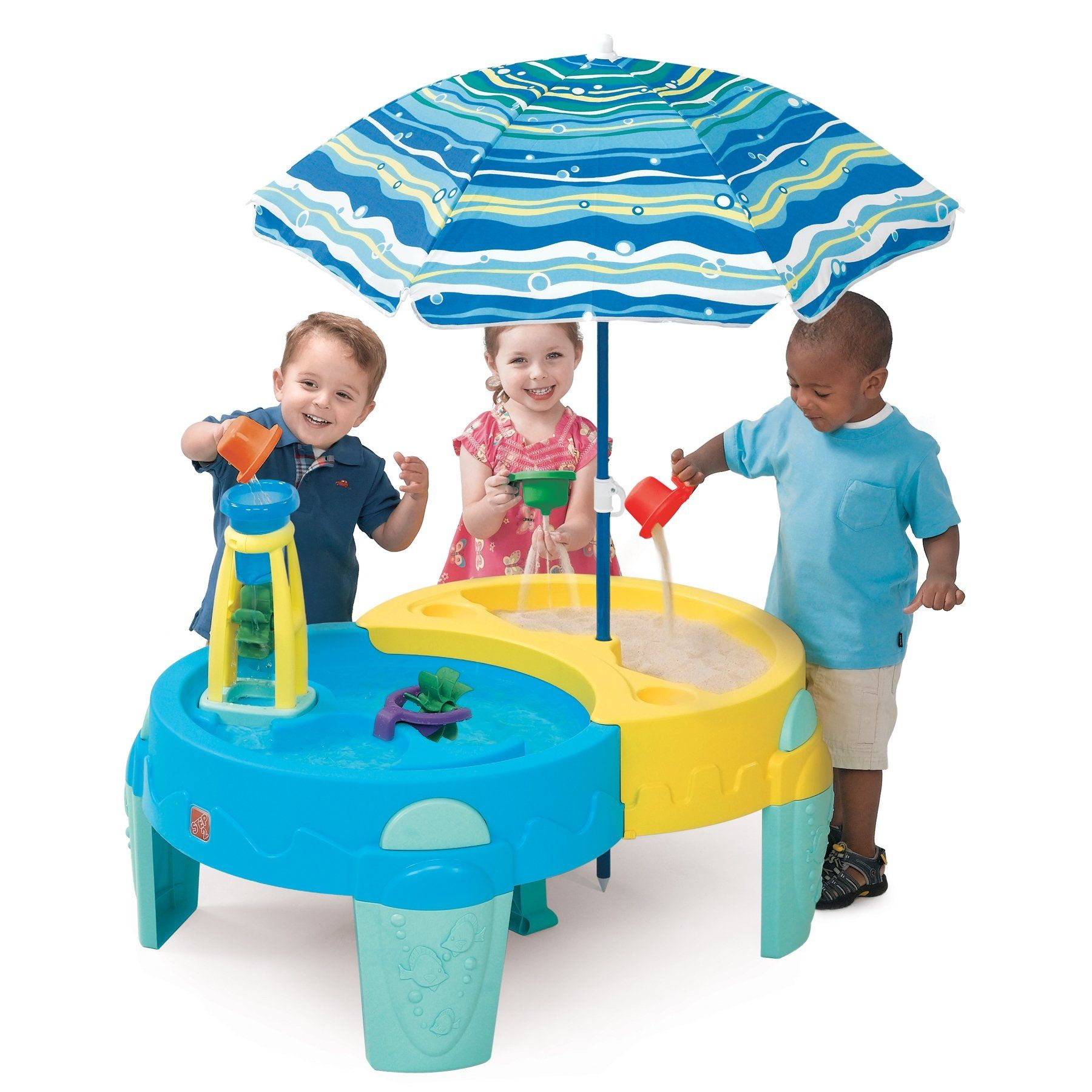 Amazon Com Step 2 Shady Oasis Sand And Water Play Table Toys Games