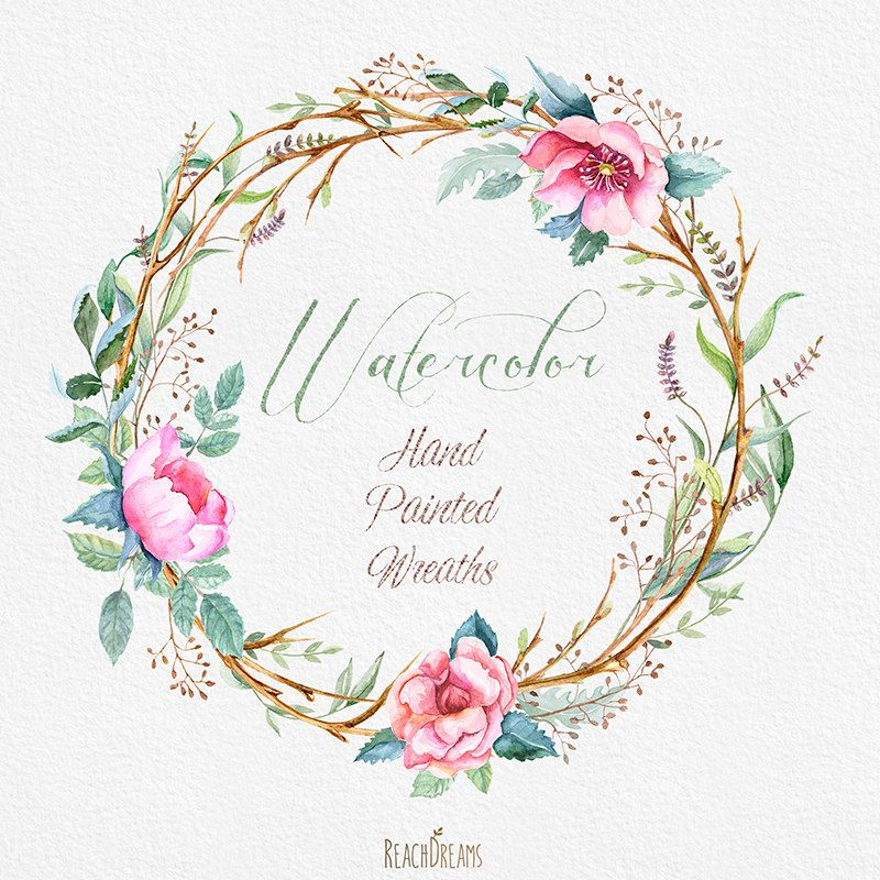 Watercolour Flower Wreaths With Floral Elements And