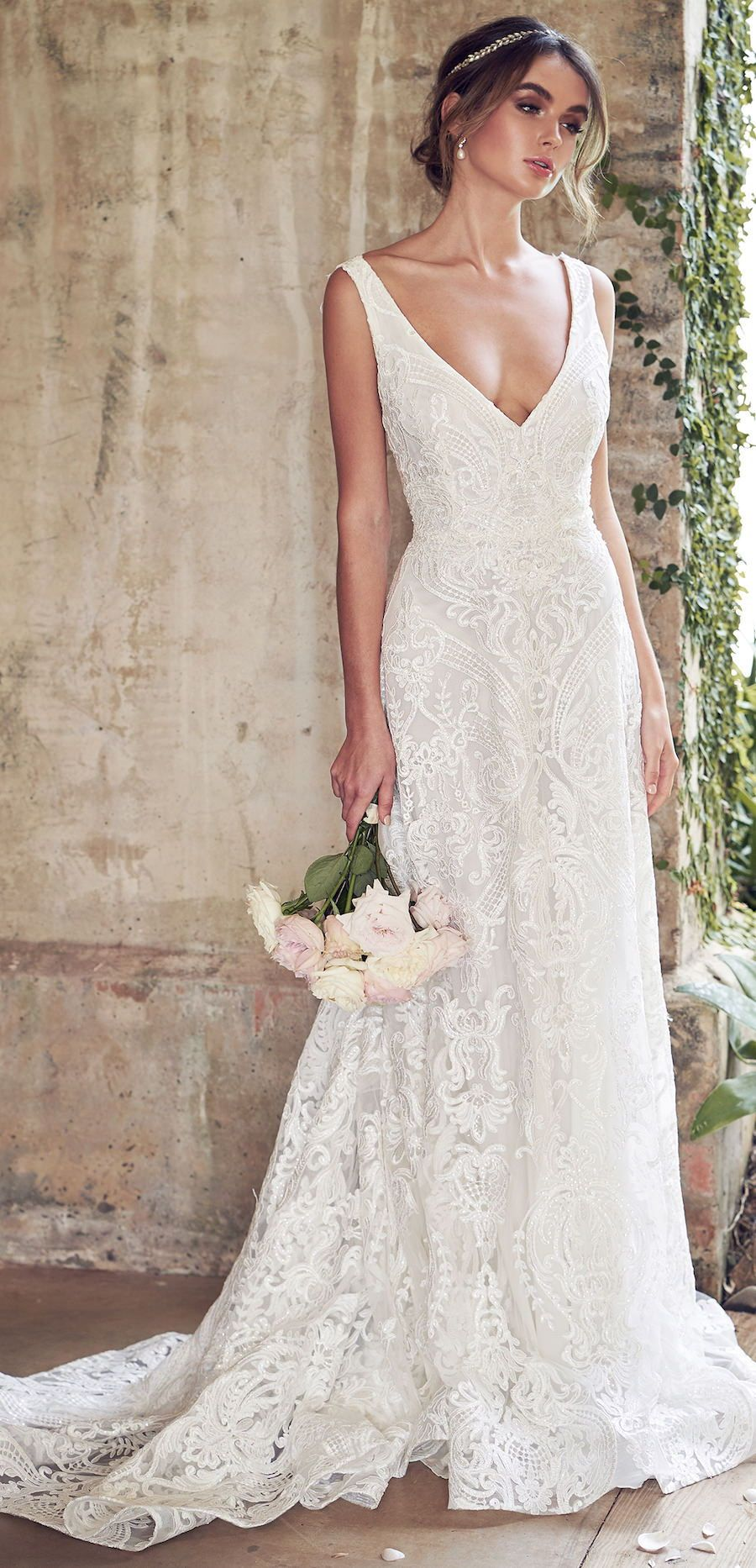 Wedding Dress By Anna Cbell Jamie Bold Unique Corded Lace Embroidered With Sequins Shimmer Bridal Gown Romantic Multiple: Short Wedding Dresses Romantic Flowy At Reisefeber.org