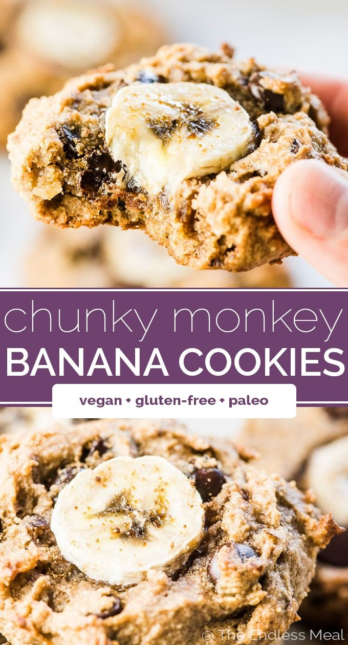 SAVE FOR LATER! Chunky Money Paleo Banana Cookies are chewy and flavorful healthy cookies that are completely grain-free. They taste like dessert but are full of good for you ingredients making them perfect for busy weekday mornings.   vegan + paleo + gluten-free + refinedsugar-free   #theendlessmeal #paleo #paleocookies #paleodesserts #grainfree #vegan #vegancookies #vegandesserts #glutenfree #sugarfree #healthycookies #healthyrecipes