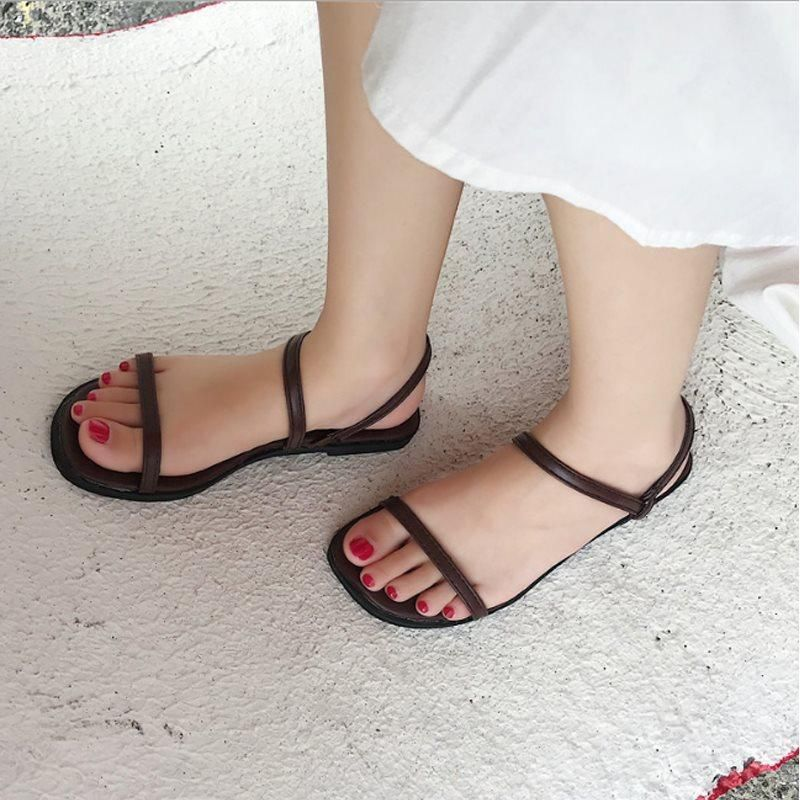 f056349068a1 SLIP-ON FLAT WITH OPEN TOE CASUAL WESTERN SANDALS  Sandals  Leatrend
