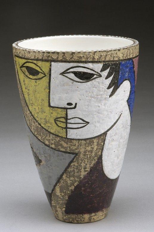 Upsala Ekeby Swedish Oval Art Pottery Bowl Mari Simmulson Original Label Danish Modern Eames Era Studio Pottery