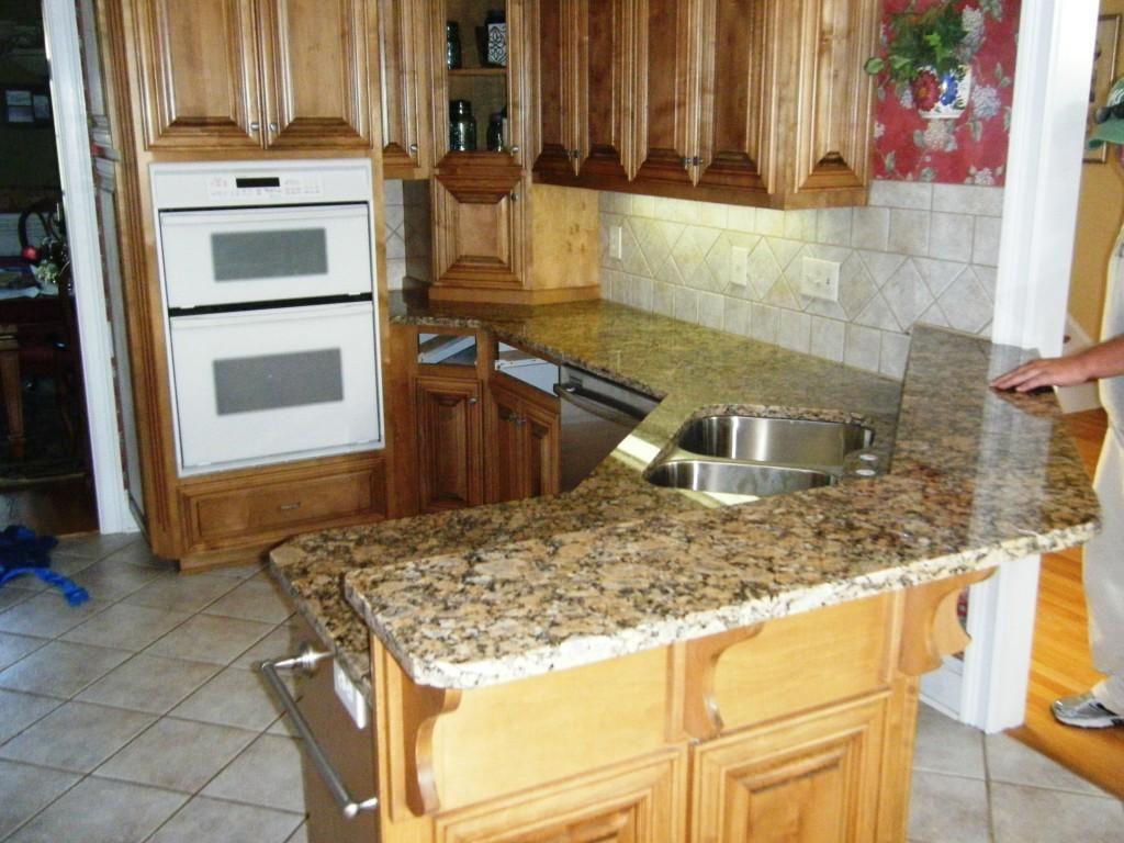 Giallo Fiorito Granite On Medium Wood Cabinets 3 8 08