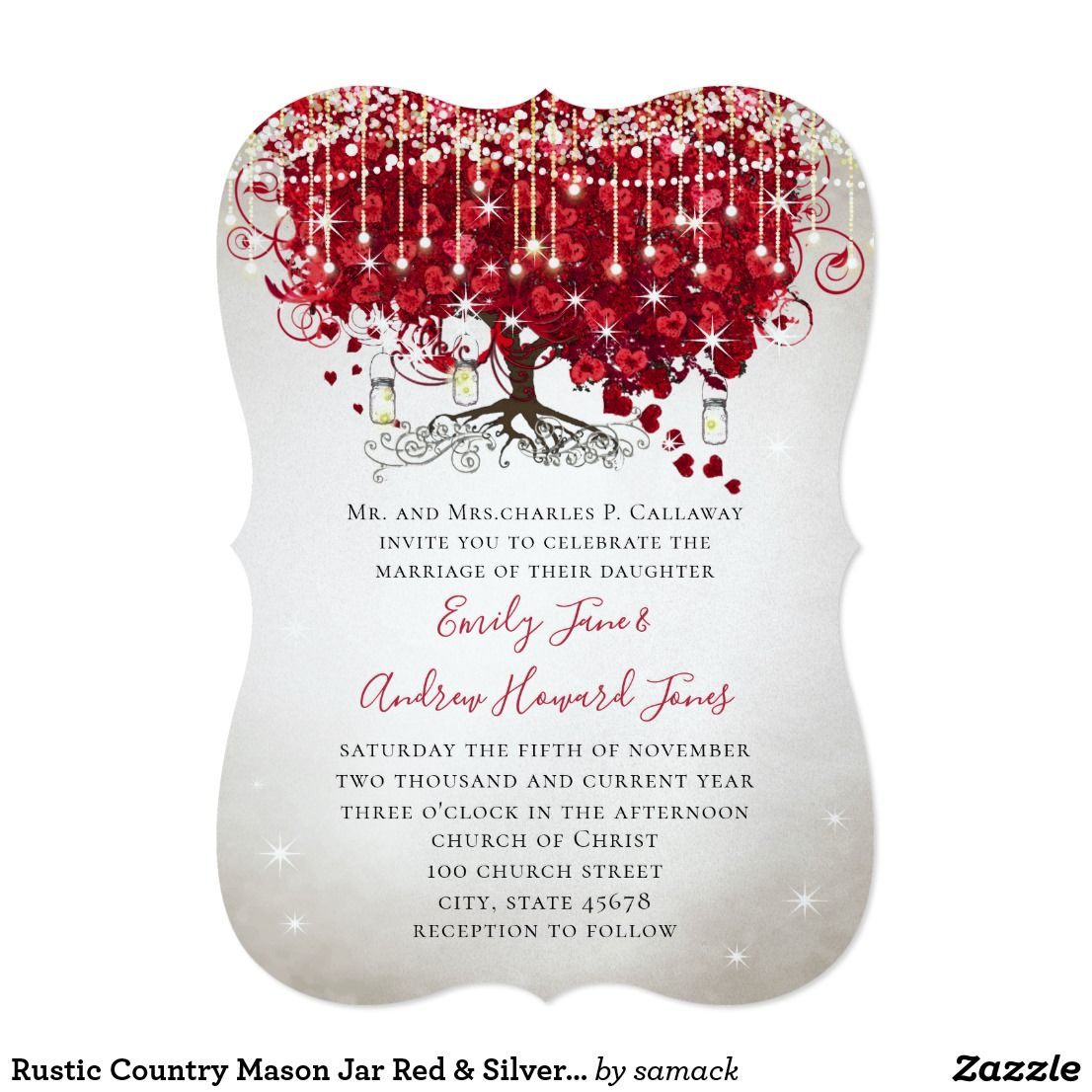 Rustic Country Mason Jar Red & Silver Tree Wedding Card Rustic ...