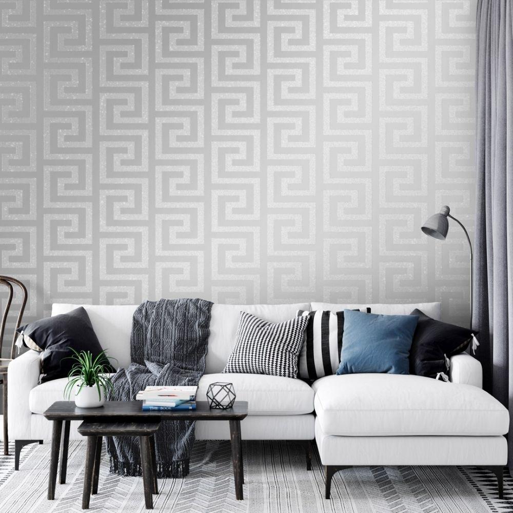 London Greek Key Wallpaper Silver in 2020 Silver living