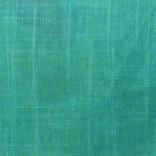 This is a turquoise linen cotton mix oilcloth from France