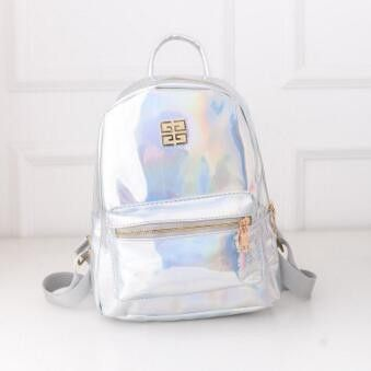 2c7df6f27 Hologram Laser School Bag Rainbow Colorful Metallic Silver Holographic  Backpack