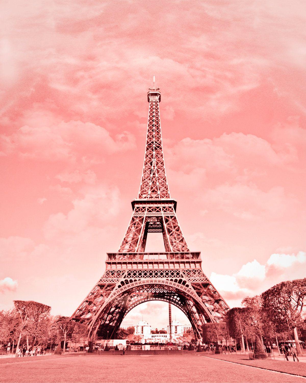 Paris In Pink Eiffel Tower Paris Decor France Digital