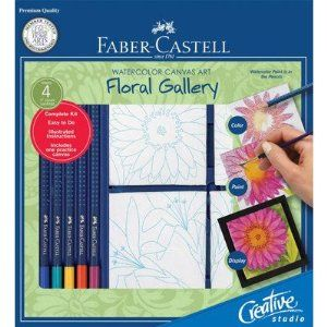 faber-castell creative studio watercolor canvas art floral gallery kitfaber-castell. 12.60