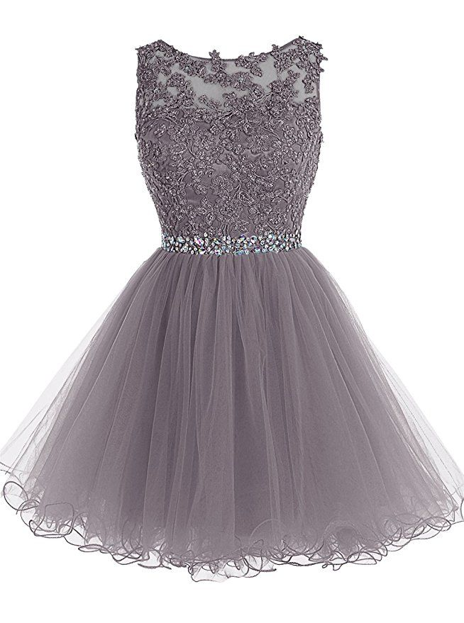 cdf2f42fb97 Tideclothes Short Beaded Prom Dress Tulle Applique Evening Dress Grey US10