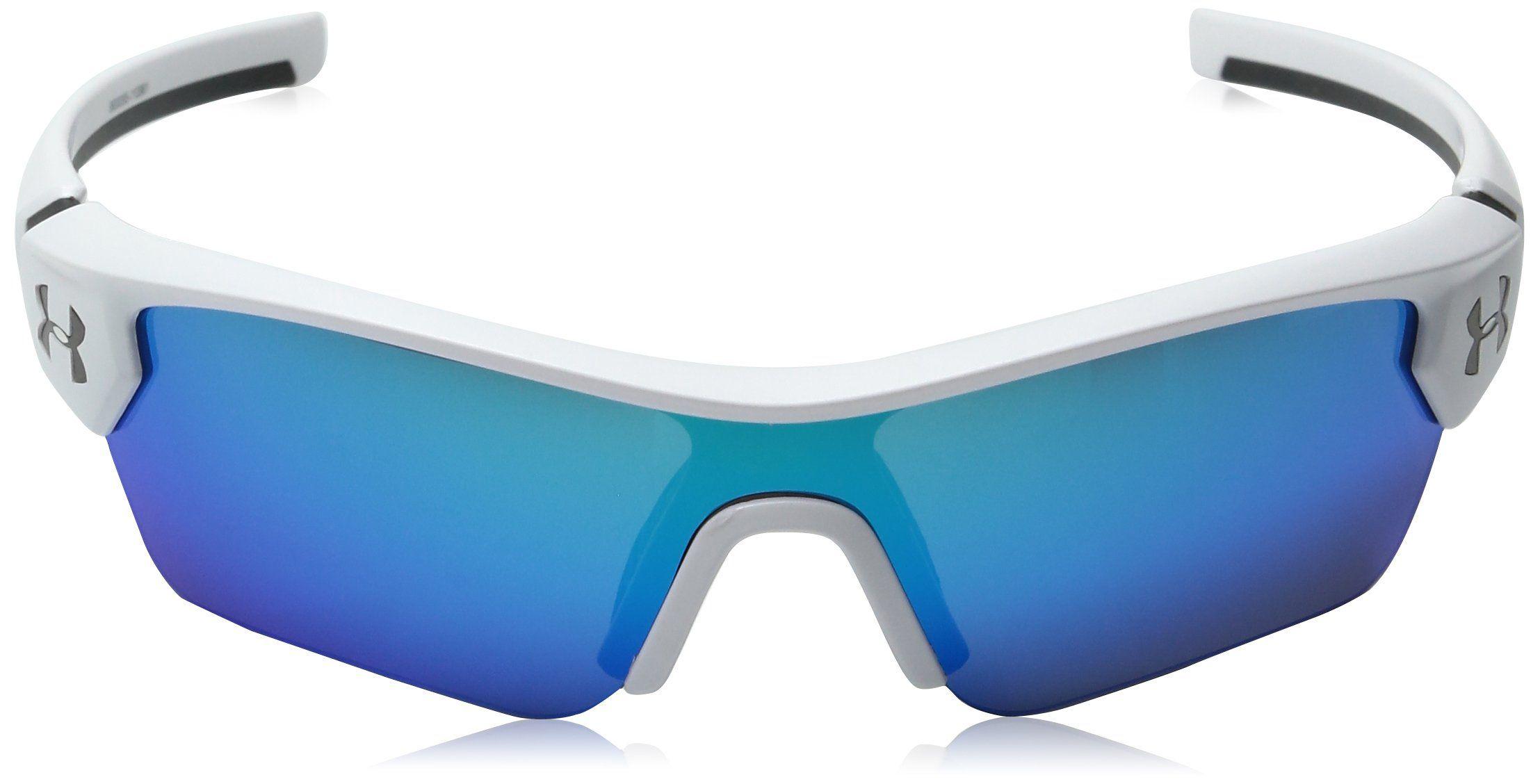 7c3331c1ef Under Armour UA Menace Wrap Sunglasses UA Menace Satin White   Charcoal  Frame   Gray