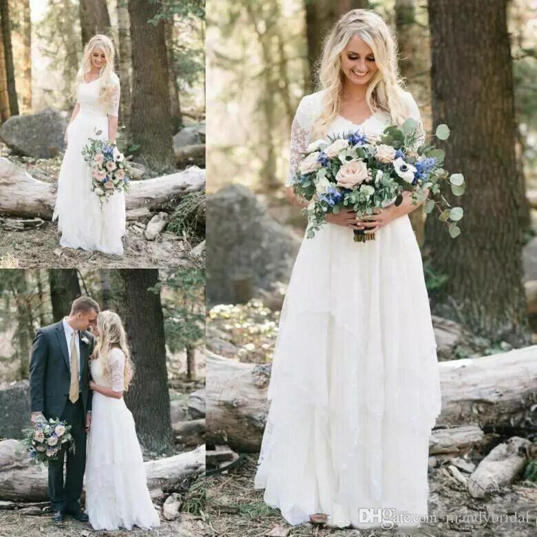 2018 Elegant Western Country Lace Wedding Dresses Chiffon Modest V ...