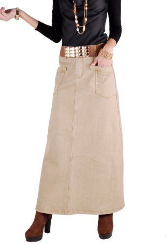 5db7ecb6ba61d  45.00 at Amazon.com  Style J Sahara Khaki Long Denim Skirt  Clothing