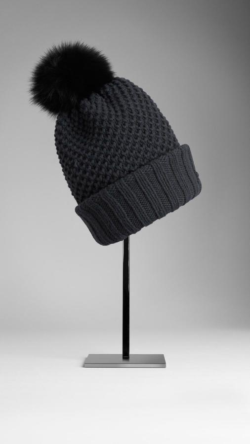bc09f2842b2 Burberry Fur Pom-pom Wool Cashmere Beanie