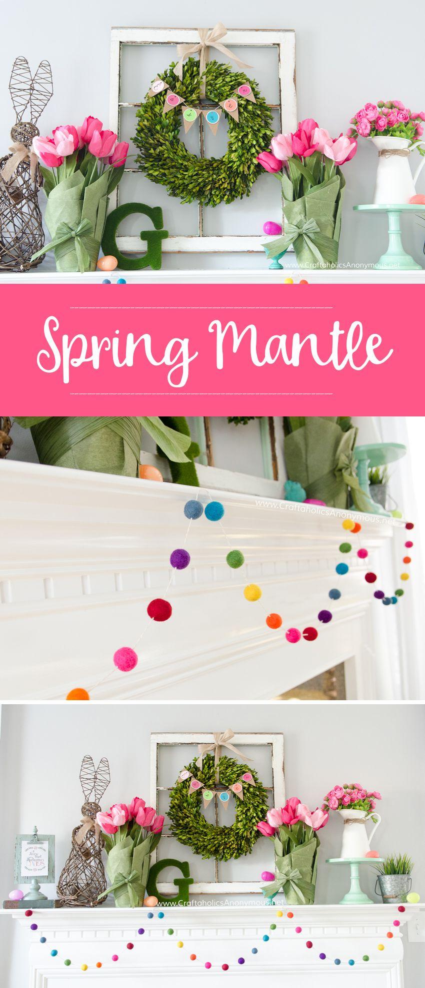 DIY Spring Mantle Decor Love That Rainbow Felt Ball Garland MichaelsMakers Craftaholics Anonymous