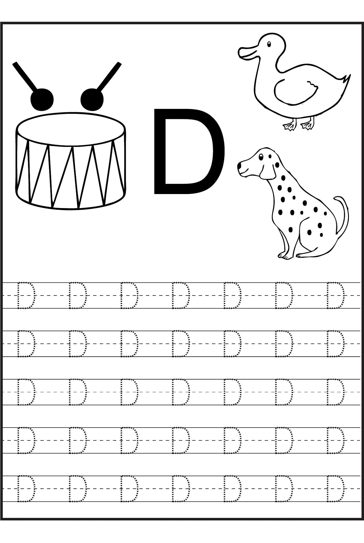 4 Worksheet Alphabet Worksheet For Nursery Class Trace Letter D Worksheets Activit Alphabet Tracing Worksheets Letter D Worksheet Alphabet Worksheets Preschool
