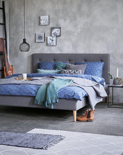 Sängram MILLINGE 160x200cm ljusgrå