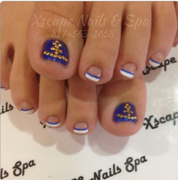 French tips navy and white with bling anchor summer nails | Nails ...