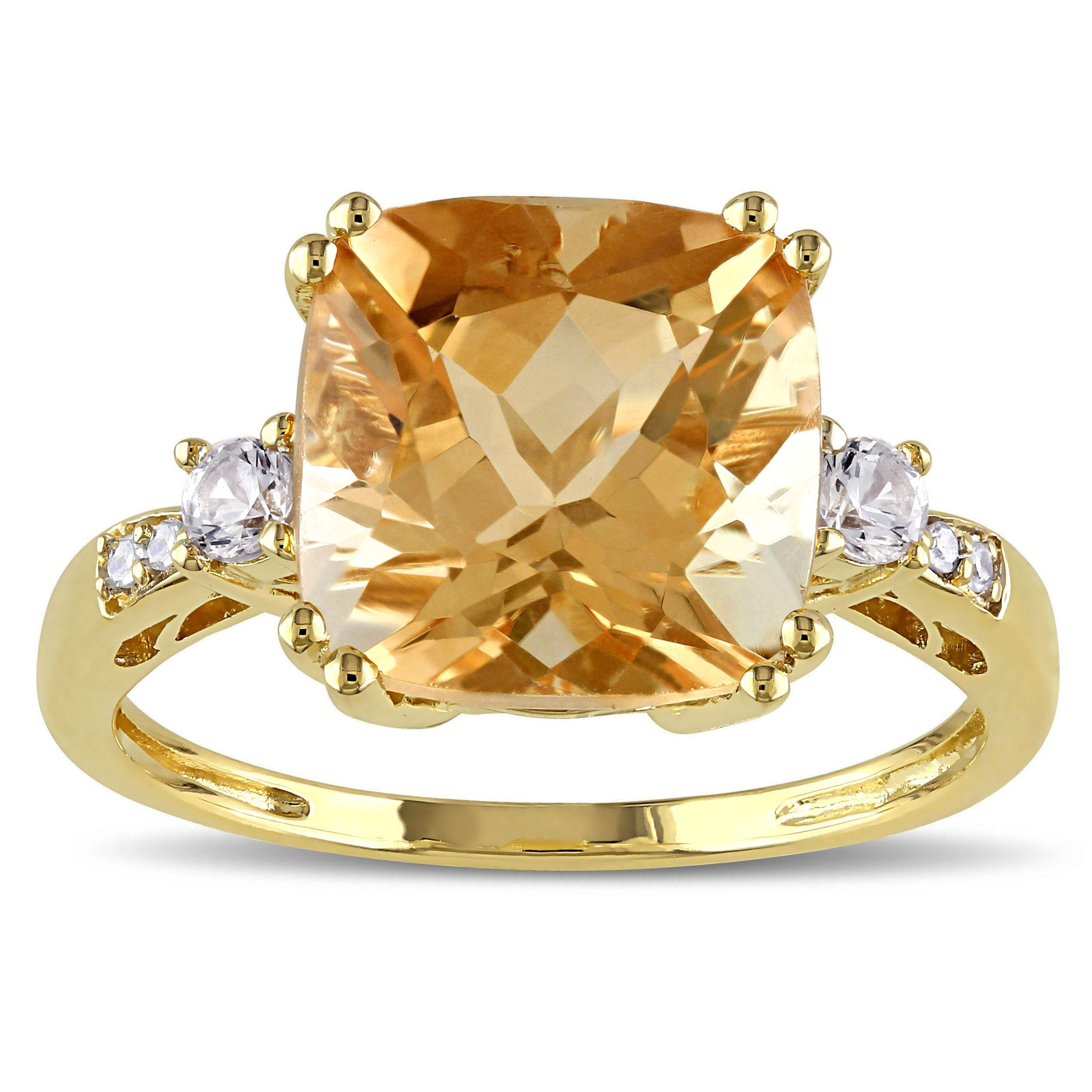 Miadora 10k Yellow Gold Citrine Sapphire And Diamond Accent Ring Gemstones Citrine Ring Diamond