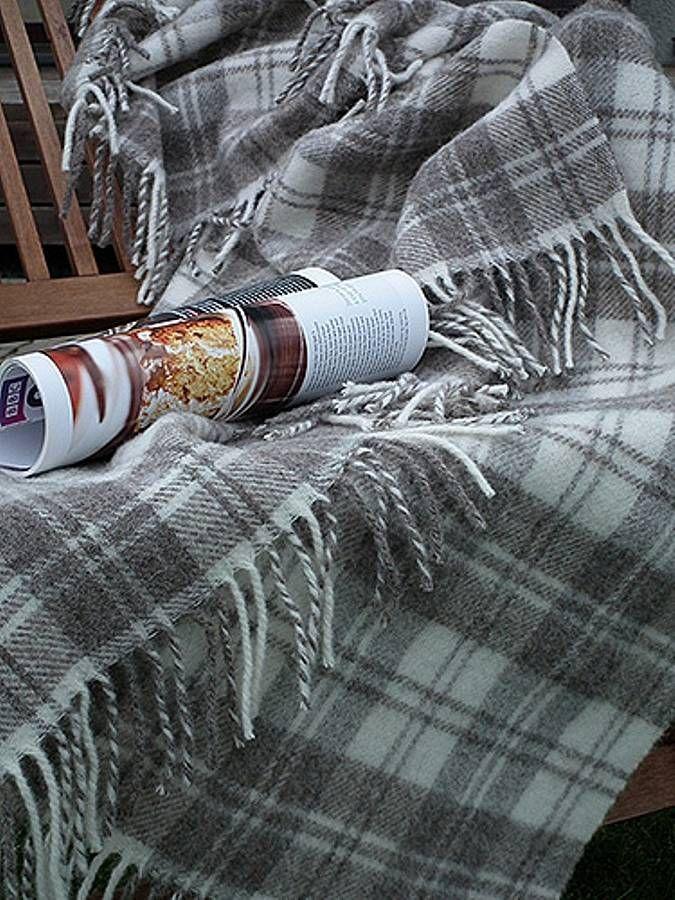 Lucio Grey Ivory Squares Wool Blanket