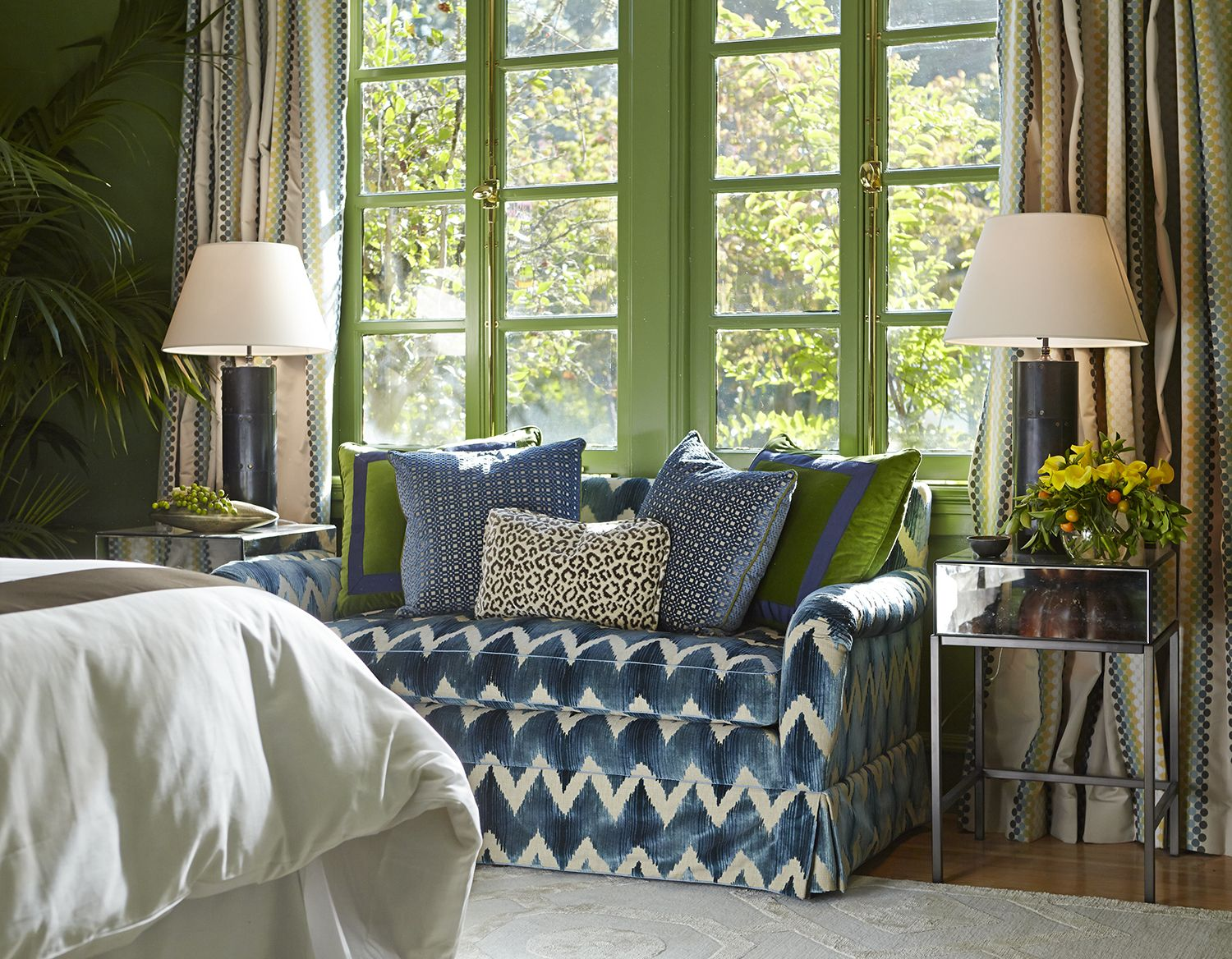 In The Master Bedroom, The Sitting Area Is Dressed In Cool