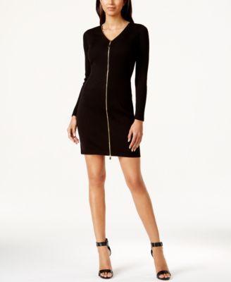 Calvin Klein Zip Front Sheath Dress Perfect Little Black